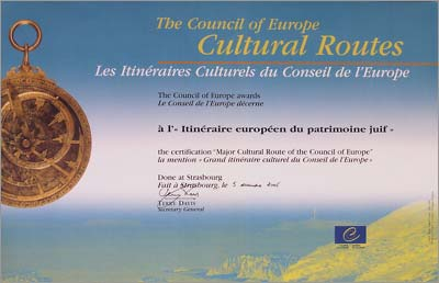 Diploma 'Gran Itinerario Cultural del Consejo de Europa'